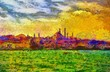 Istanbul shore view cityscape impressionist style painting - 81820141