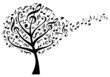 music tree with musical notes, vector