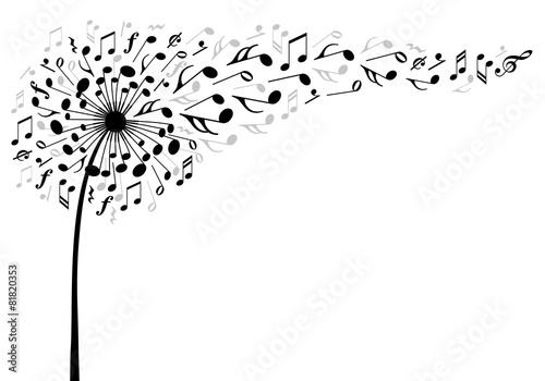 music dandelion flower, vector illustration poster