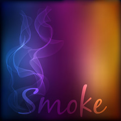 Vector smoke on blurred background.