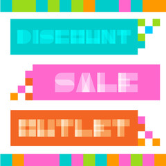 Set of abstract mosaic sale banners.