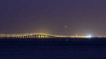 Vasco da Gama bridge in Lisbon by night, Portugal timelapse
