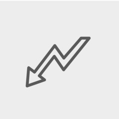 Lightning arrow downward thin line icon