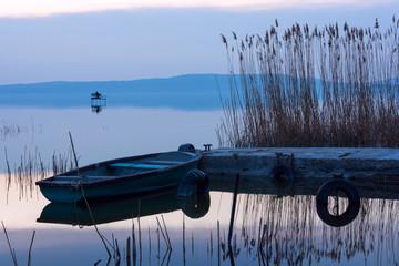 The boat docked on the lake Balaton