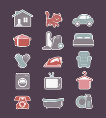 House cleaning and household appliances flat icons