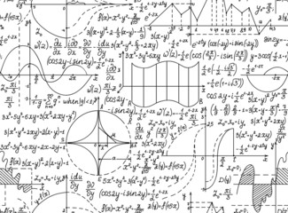 Math vector seamless with figures, equations and formulas