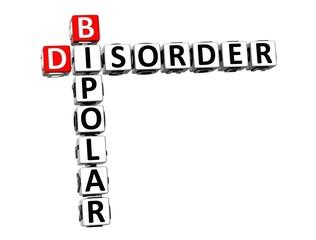 3D Crossword Bipolar Disorder over white background.