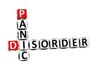 3D Crossword Panic Disorder over white background.