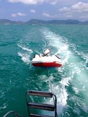 Safety engine boat running behide