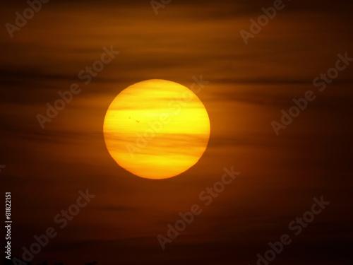 big sun on red sky