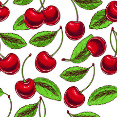 background with ripe cherries