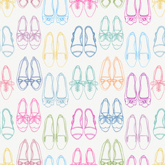Seamless background with colored shoes