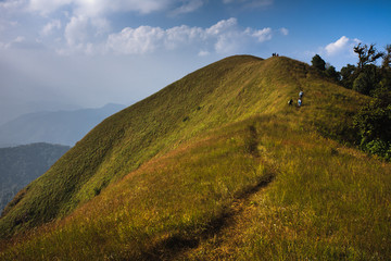 Mountain trail and blue sky.
