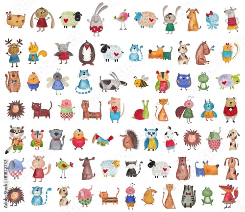 Leinwanddruck Bild Mega collection of cartoon pets