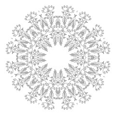 Round ornament. Ethnic mandala. Vector art