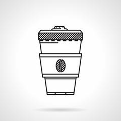 Coffee cup black line vector icon