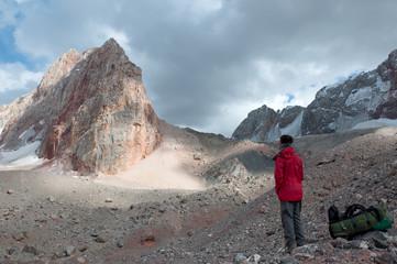 lone man admiring the stunning views of Glacier.