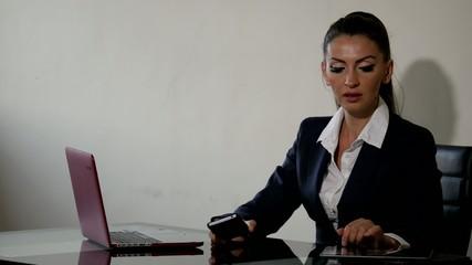 young business woman having fun using laptop PC