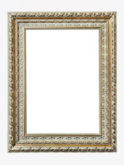gold-patterned frame for a picture isolated on a white backgroun