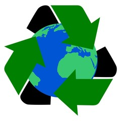 Earth and Recycling Symbol - illustration