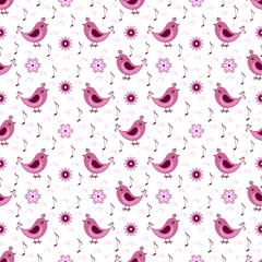 Seamless abstract pattern with birds