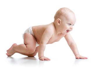 crawling baby isolated on white background