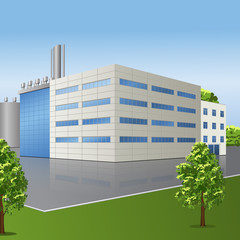 factory building with offices and production facilities