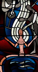 Baptism of Jesus in stained glass