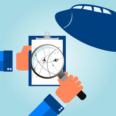 Air travel. Airplanes on their destination routes. Vector Illust