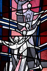 Happy people in stained glass