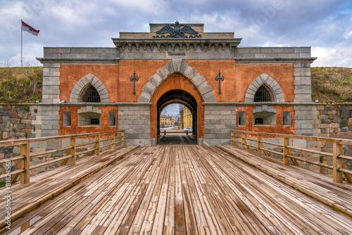 Fotobehang Vestingwerk Emperor gates and wooden bridge in Daugavpils fortress