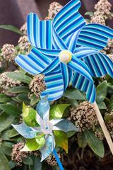 bunte Windräder im Garten
