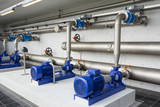 Modern water pumps in a water plant in Denmark station - 81825144