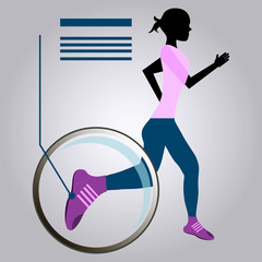 Woman Running, increase shoes under a magnifying glass.