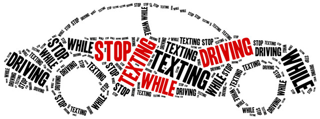 Texting and driving. Warning message.