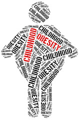 Word cloud related to childhood obesity.