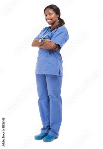 Black nurse isolated on white - 81826163