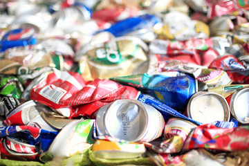 Suratthani,Thailand,February 2,2015:Aluminium cans pressed and p