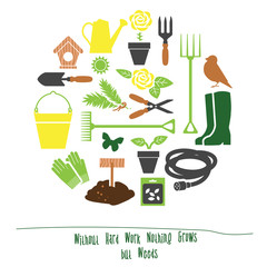 Spring Gardening Tools Set Background, Flat Vector Illustration