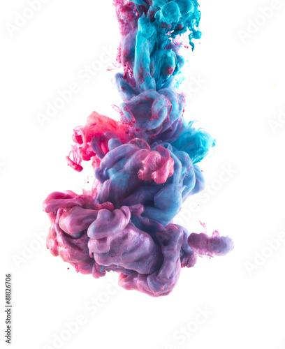 Color drop on white background. Blue and light pink liquids - 81826706