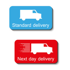 two color delivery icons with shadow