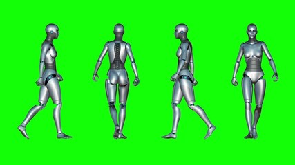 Female Robot Walk Loop (Green Screen)