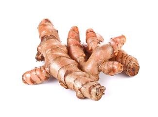 fresh turmeric, curcuma roots on white background