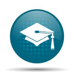 education blue glossy web icon