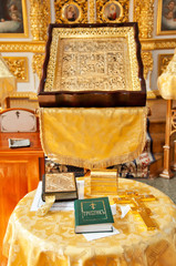 Kiev-Pechersk Lavra inside. Сeremony of baptism