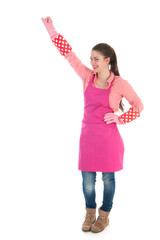 young female cleaner with gloves and apron