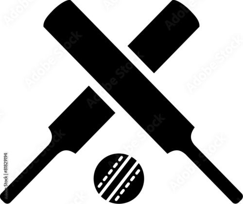 Crossed cricket bats with ball - 81829194