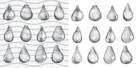 Transparent and opaque gray drops of different shapes