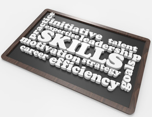 skills,expertise,goals,leadership,career 3d word concept