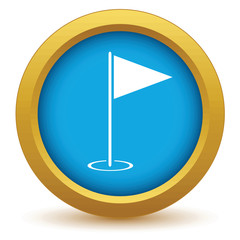 Gold golf flag icon
